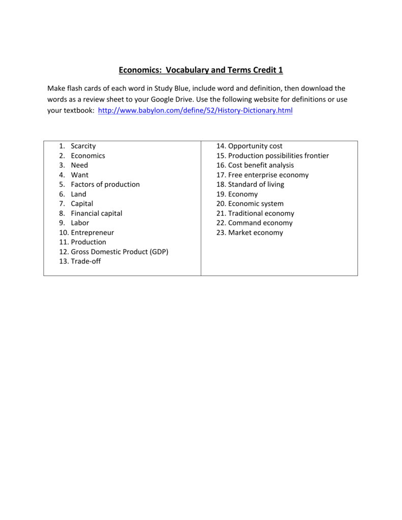 economics vocabulary and terms credit 1