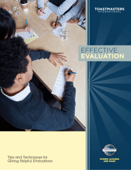 Effective Evaluation - Toastmasters International