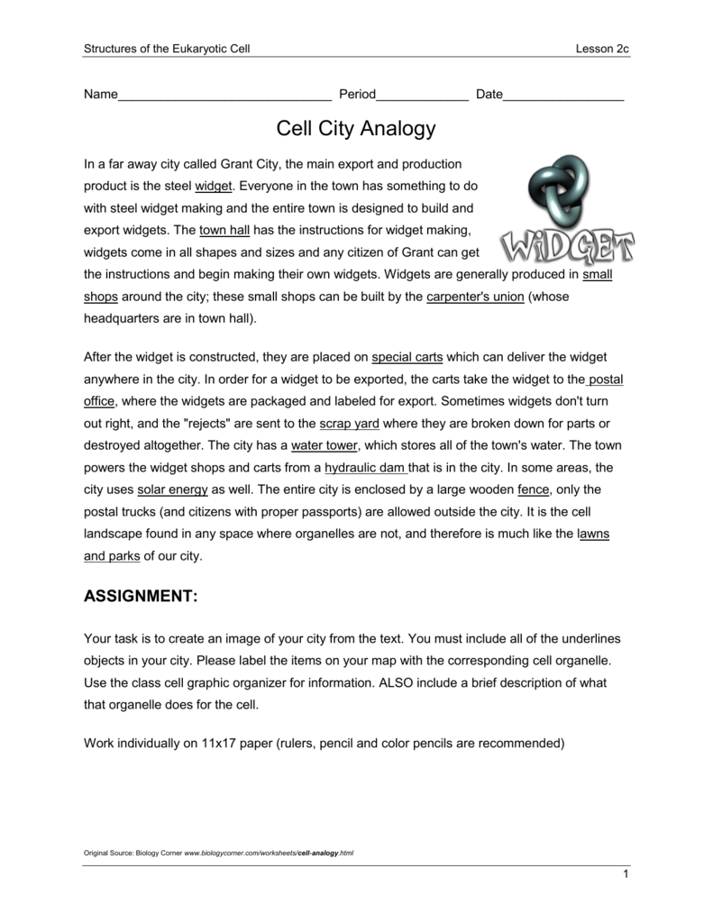 worksheet Cell City Worksheet Answers cell city analogy maine content literacy project