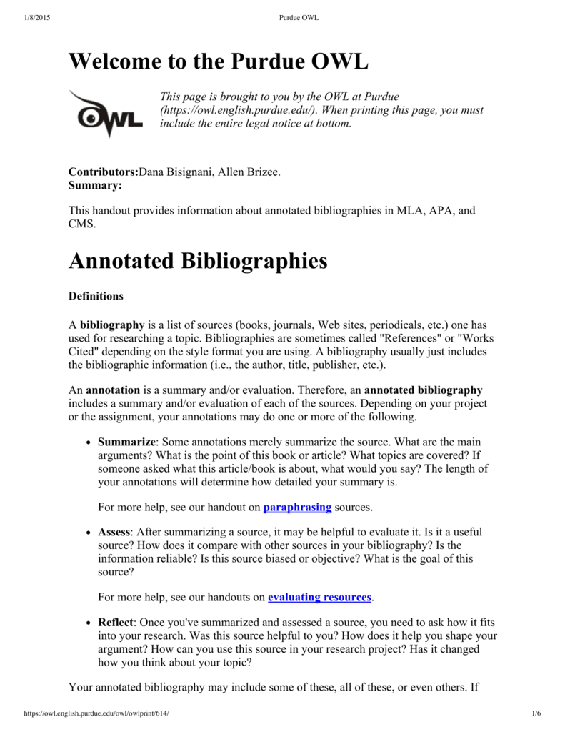 Welcome To The Purdue OWL Annotated Bibliographies