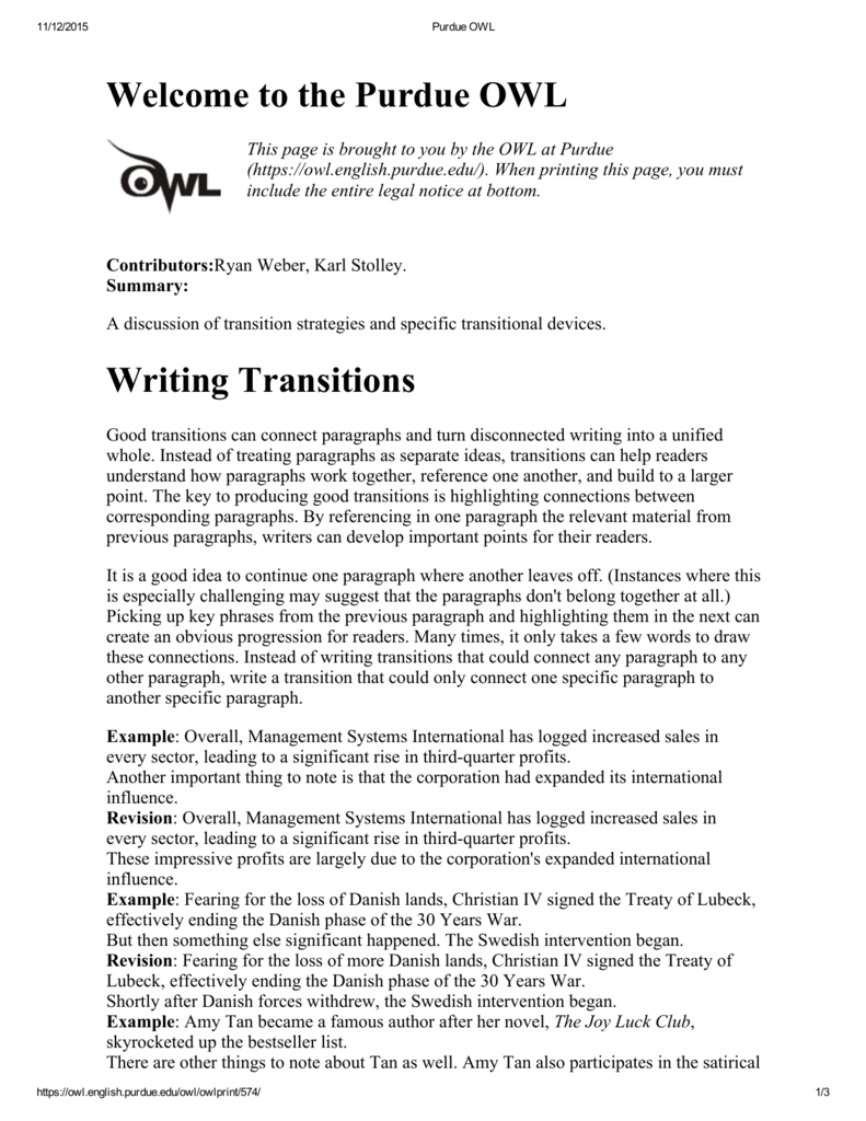 purdue owl transition words