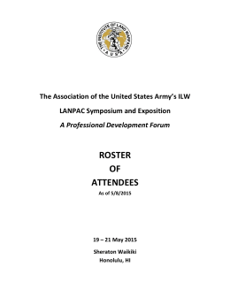 roster of attendees - Association of the United States Army