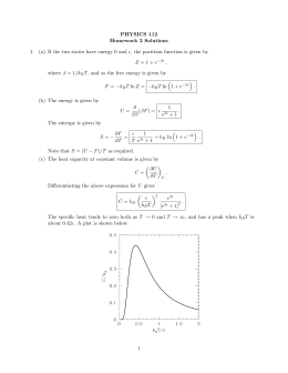 PHYSICS 112 Homework 2 Solutions 1. (a) If the two states have
