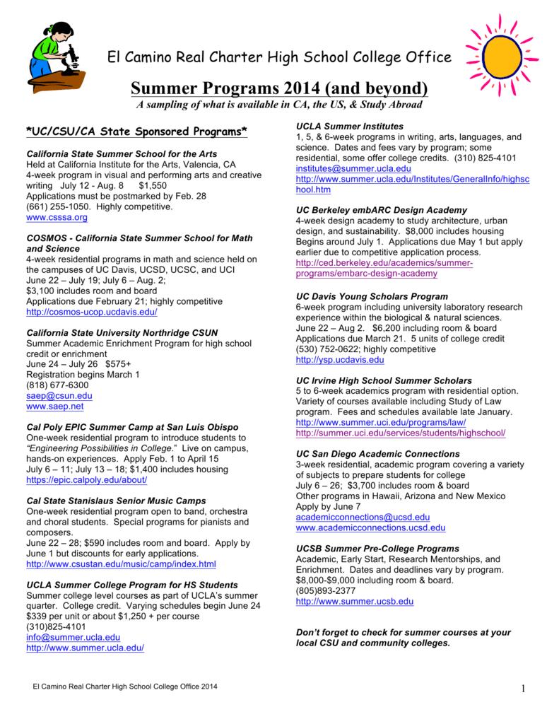 Summer Programs 2014 Ecrchs