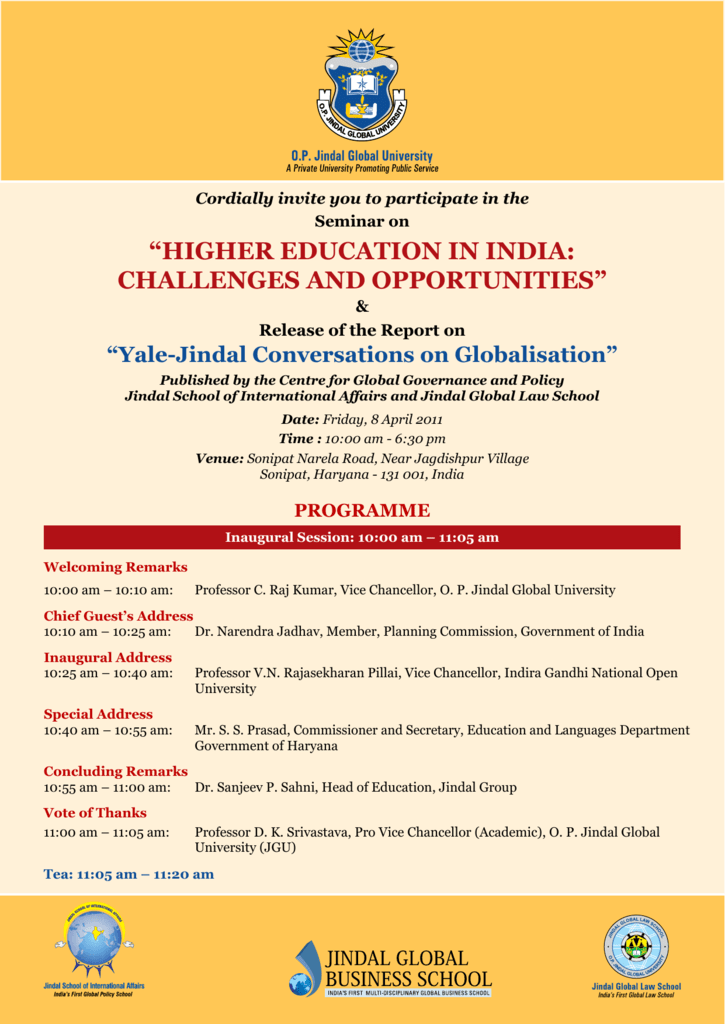 """HigHer education in india: cHallengeS and opportunitieS"""""""