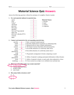 Material Science Quiz Answers