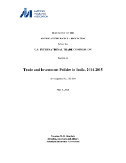 U.S. International Trade Commission (ITC) May 5, 2015 Testimony