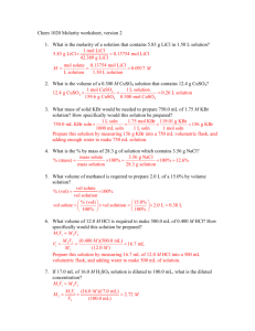 Chem 1020 Molarity worksheet, version 2 1. What is the molarity of a