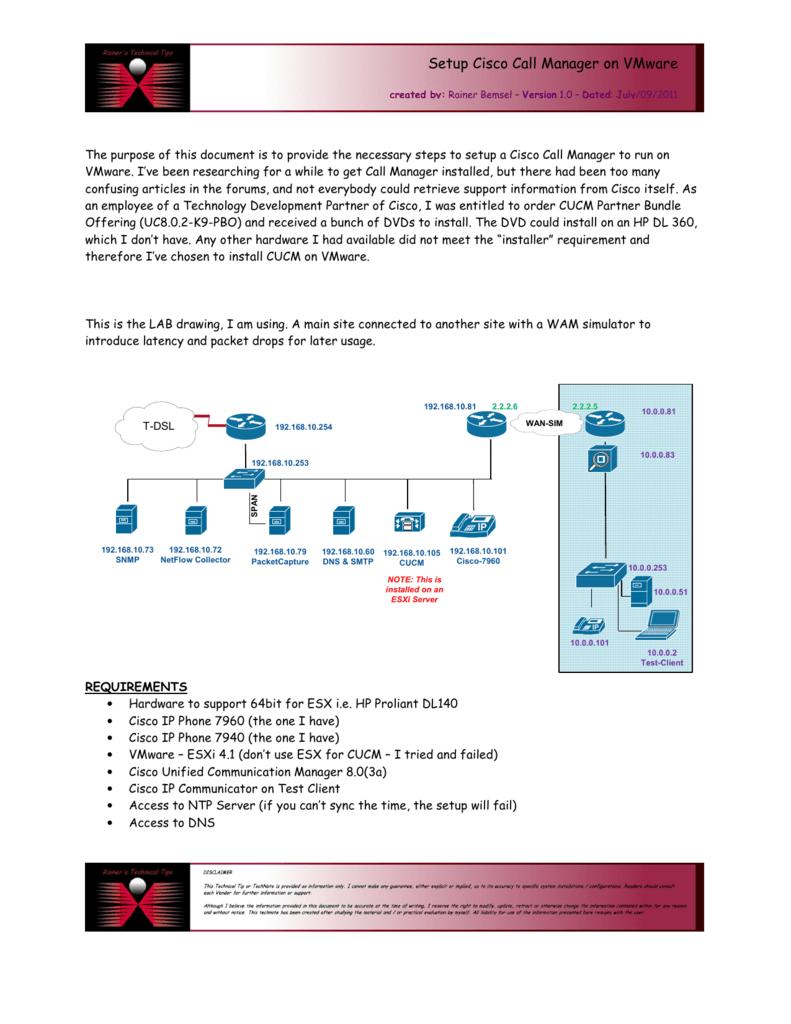 Setup Cisco Call Manager on VMware