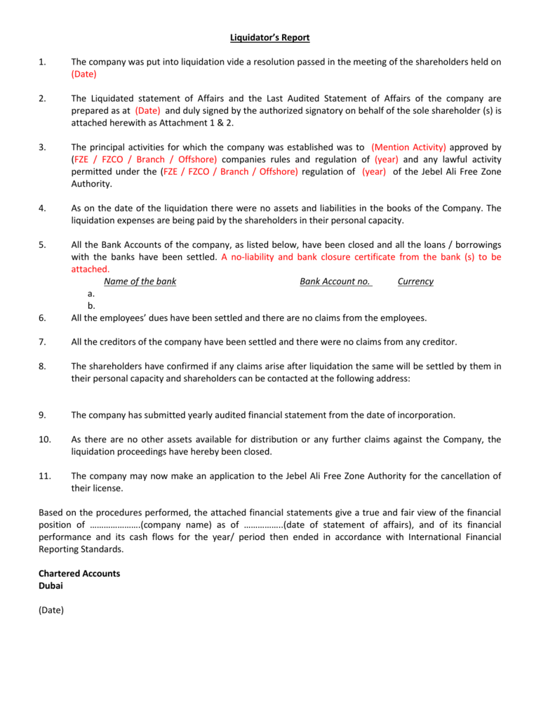 Liquidation Against Account - The Recomendation Letter