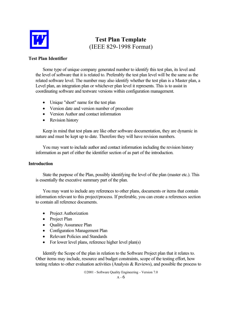 test plan template  ieee 829