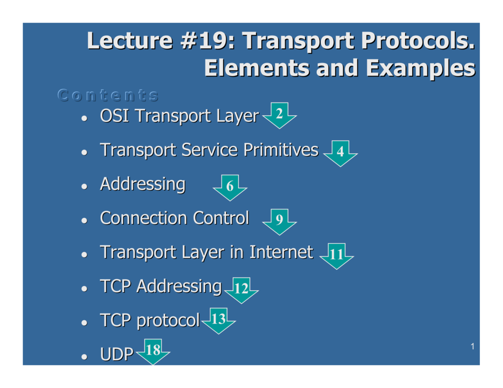 Lecture #19: Transport Protocols  Elements and Examples