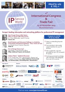 4th International Congress & Trade Fair: IP Service World 2013