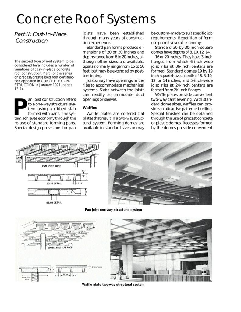 Concrete Roof Systems - Concrete Construction