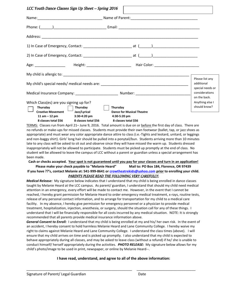 lcc youth dance classes sign up sheet