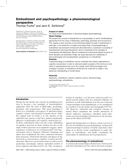 Embodiment and psychopathology: a phenomenological perspective
