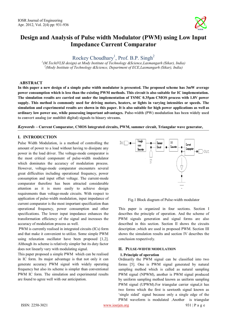 Design And Analysis Of Pulse Width Modulator Pwm Using Low Triangular Wave Generator Circuit