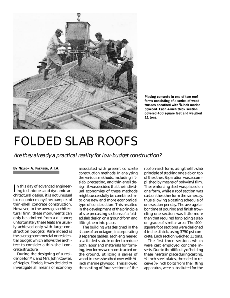 Folded Slab Roofs Concrete Construction