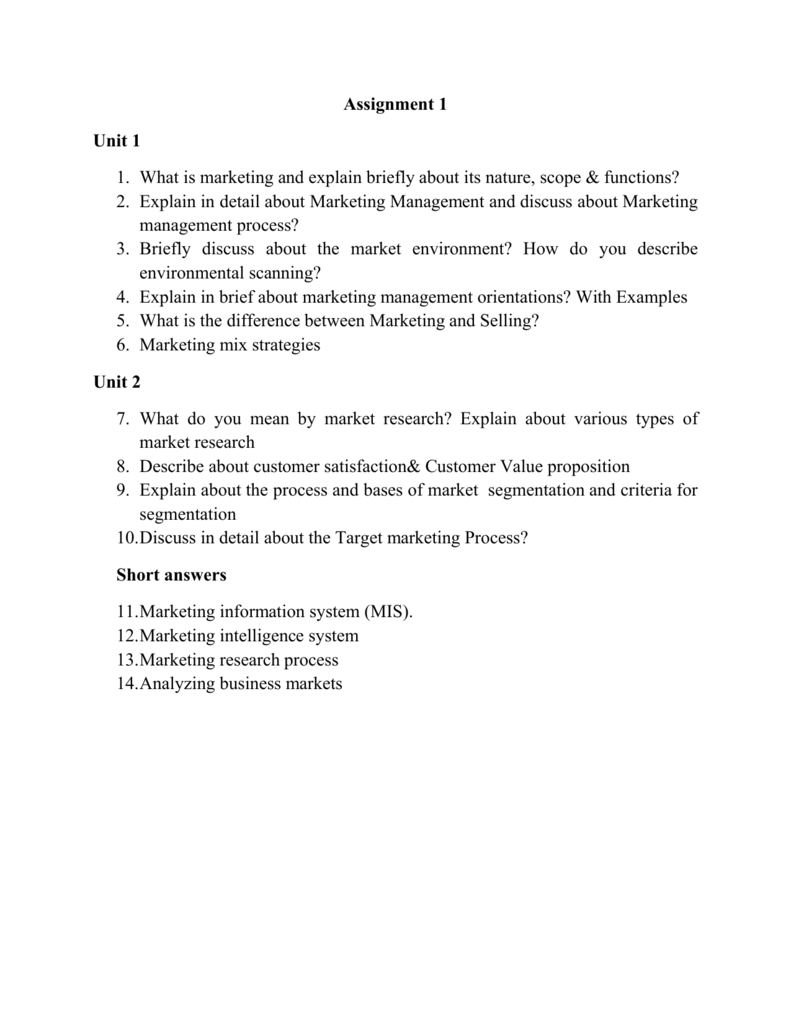 Assignment 1 Unit 1 1 What Is Marketing And