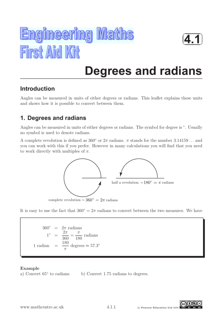 41 Degrees And Radians