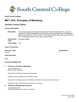 MKT 1810 Principles of Marketing
