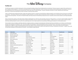 Facility List - The Walt Disney Company