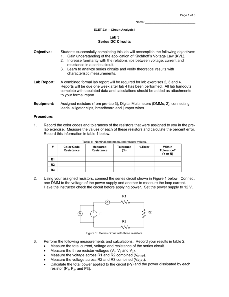 Lab 3 Series Dc Circuits Objective Students Successfully Circuit