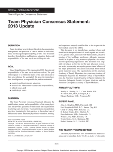 Team Physician Consensus Statement: 2013 Update