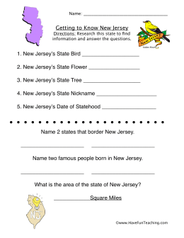 Getting to Know New Jersey 1. New Jersey's State Bird