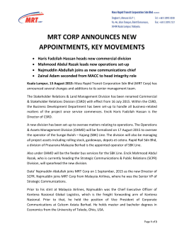 MRT CORP ANNOUNCES NEW APPOINTMENTS, KEY MOVEMENTS