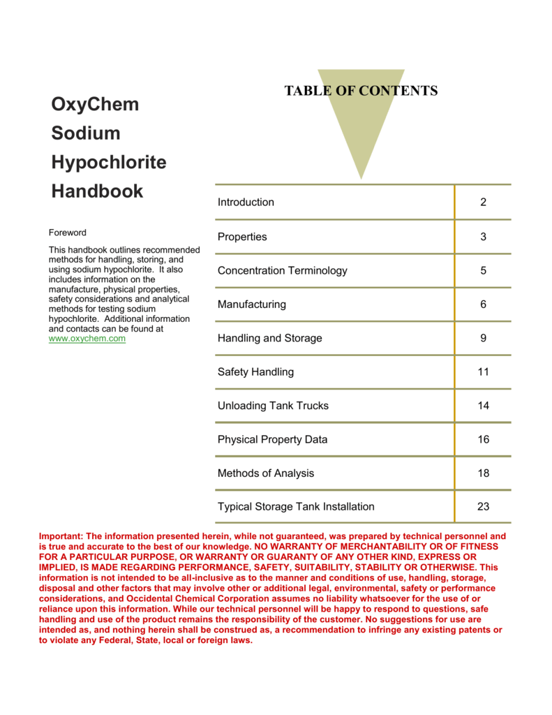 OxyChem Sodium Hypochlorite Handbook