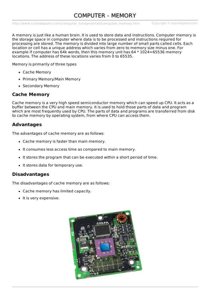 Computer Memory - TutorialsPoint