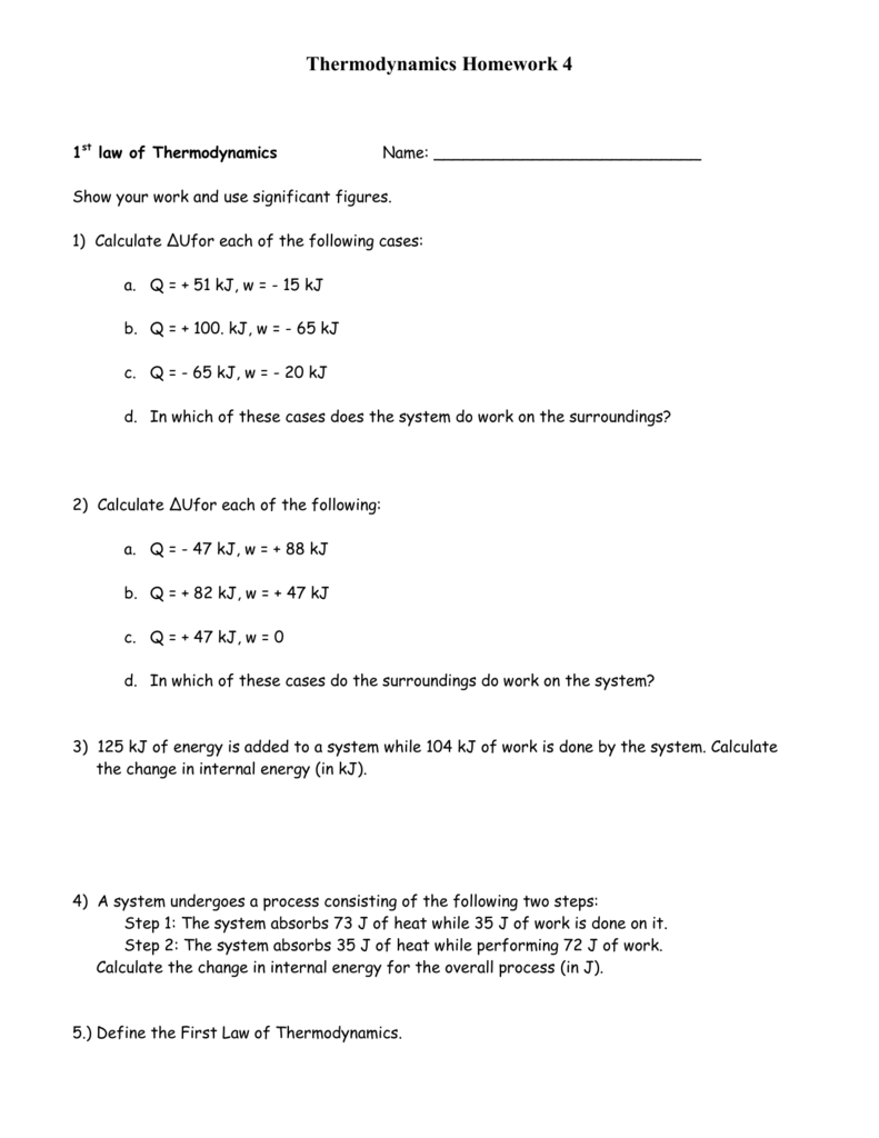 First Law Of Thermodynamics Worksheet Switchconf – Thermodynamics Worksheet
