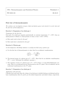 TP4: Thermodynamics and Statistical Physics Worksheet 2 WS 2015