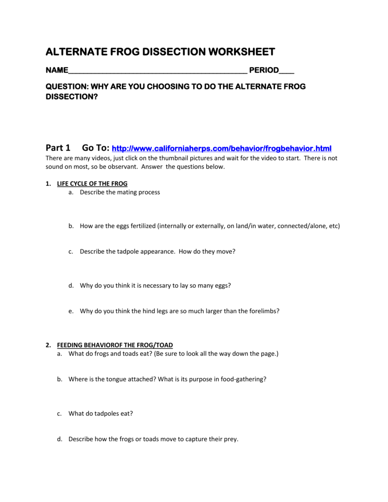 ALTERNATE FROG DISSECTION WORKSHEET Part 1 Go To – Frog Dissection Worksheet