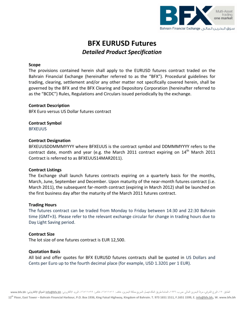 Bfx Eurusd Futures Bfx Bahrain Financial Exchange