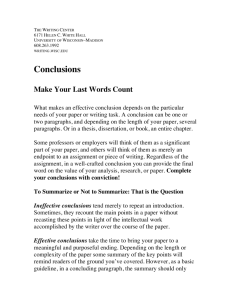 Conclusions - Writing Center - University of Wisconsin–Madison