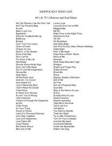SIDEPOCKET SONG LIST 60's & 70's Motown and