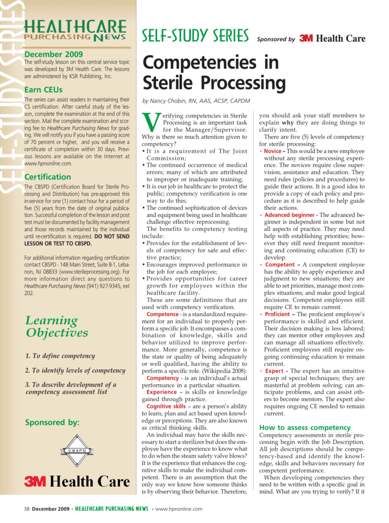 Self-Study Series Competencies in Sterile Processing