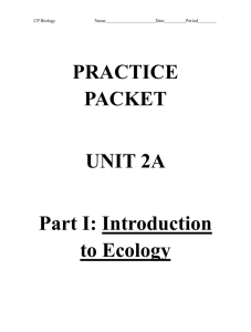 PRACTICE PACKET UNIT 2A Part I: Introduction to Ecology