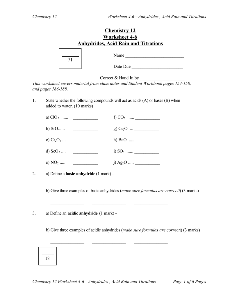 Chemistry 12 Worksheet 46 Anhydrides Acid Rain and Titrations 71 – Ph and Acid Rain Worksheet