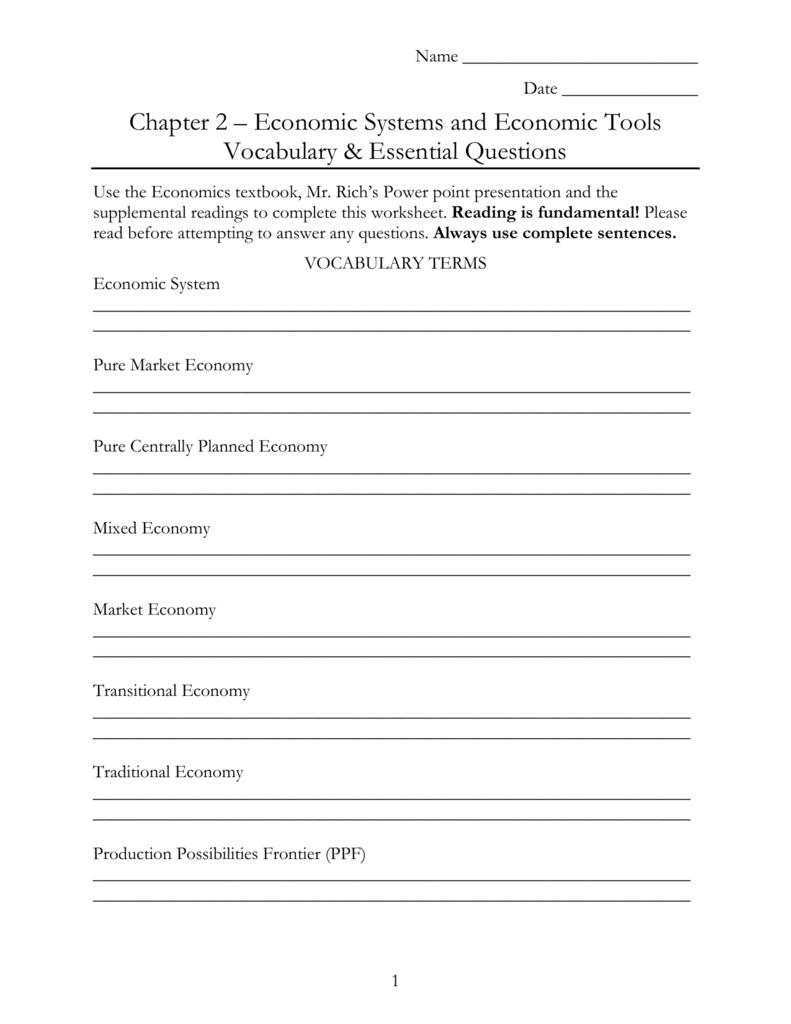 Chapter 2 Economic Systems and Economic Tools Vocabulary – Economic Systems Worksheet