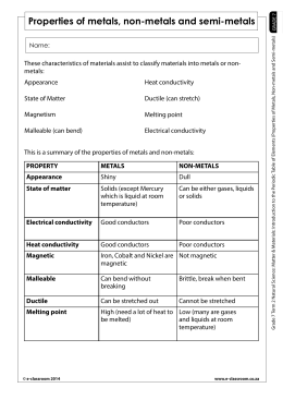 characteristics of metals vs nonmetals