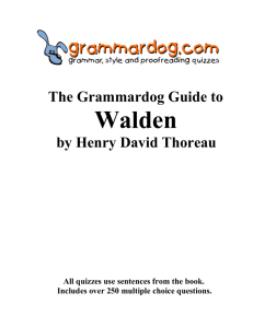 WALDEN by Henry David Thoreau – Grammar and Style