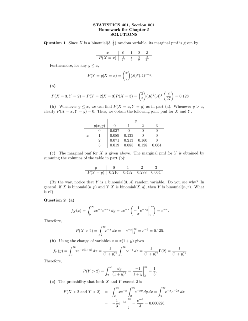 STATISTICS 401, Section 001 Homework for Chapter 5 SOLUTIONS