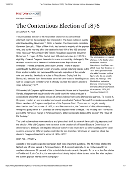 The Contentious Election of 1876