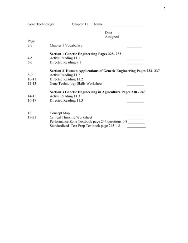 worksheet Gene Technology Worksheet ch 11 packet