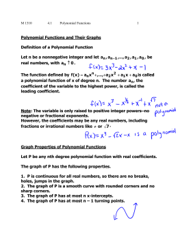 Polynomial Functions and Their Graphs Definition of a Polynomial