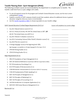 Transfer Planning Sheet –Sport Management