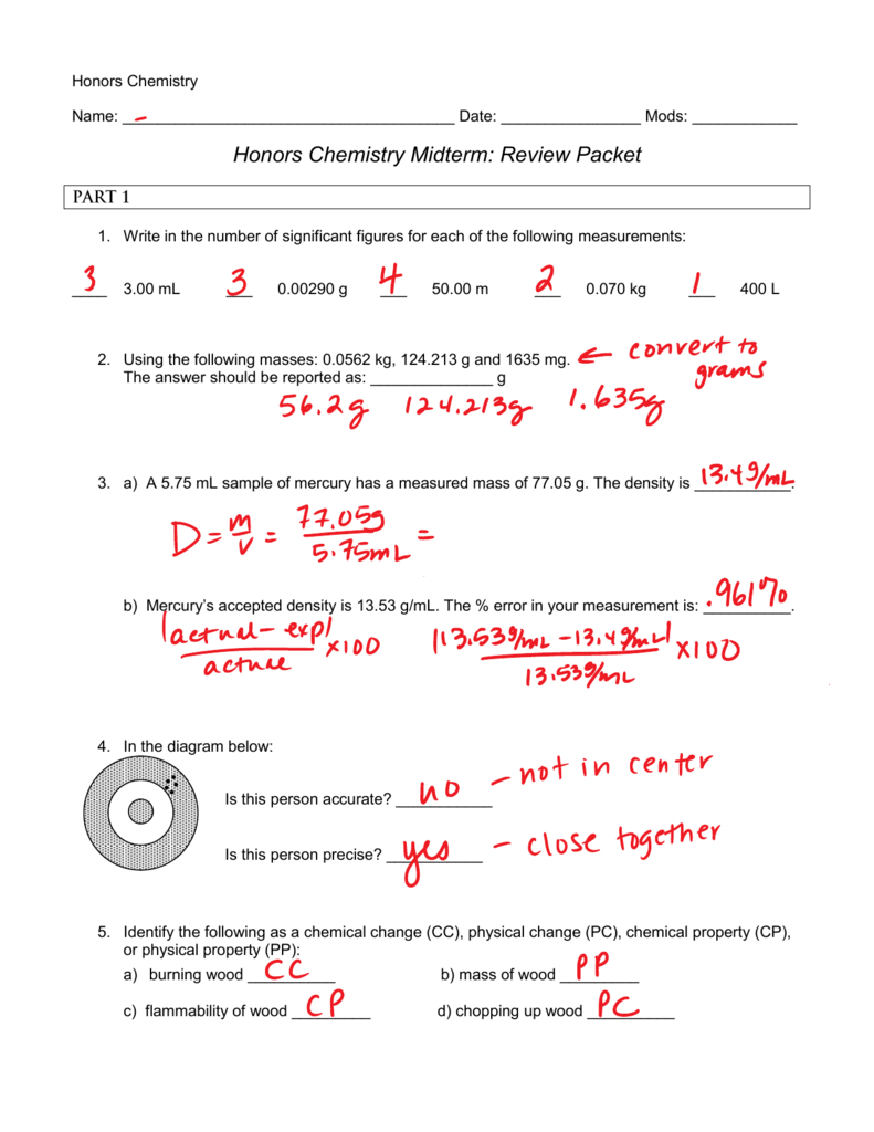 Honors Chemistry Midterm: Review Packet